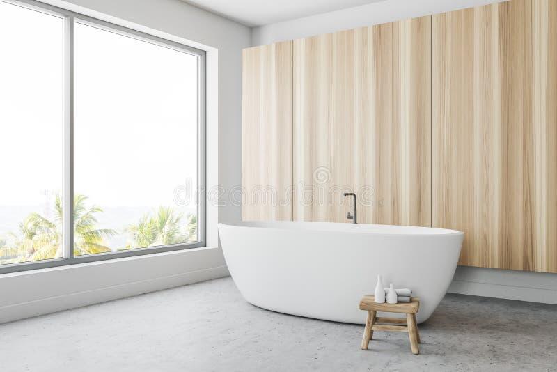 Деревянный панорамный угол ванной комнаты иллюстрация вектора