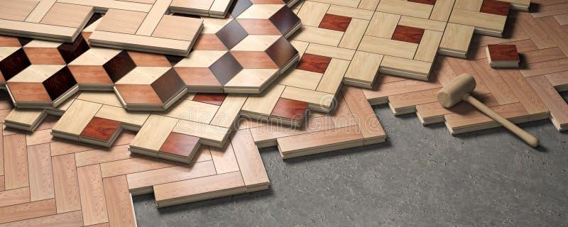 Деревянный партер положенный на пол Концепция конструкции и реновации дома иллюстрация штока