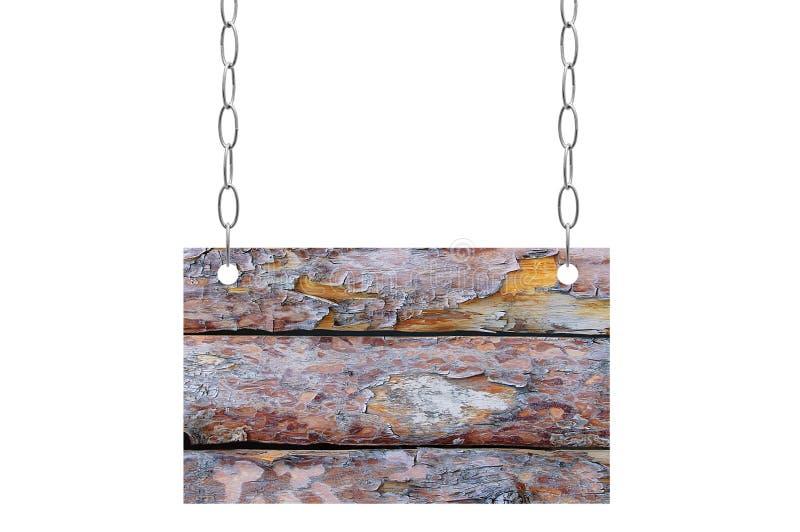Деревянный планшет висит на цепи металла стоковые фотографии rf