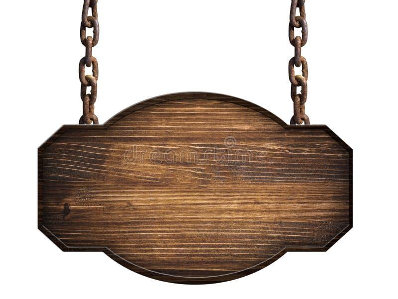 Деревянный подпишите внутри темную деревянную смертную казнь через повешение на изолированной цепи стоковые фотографии rf