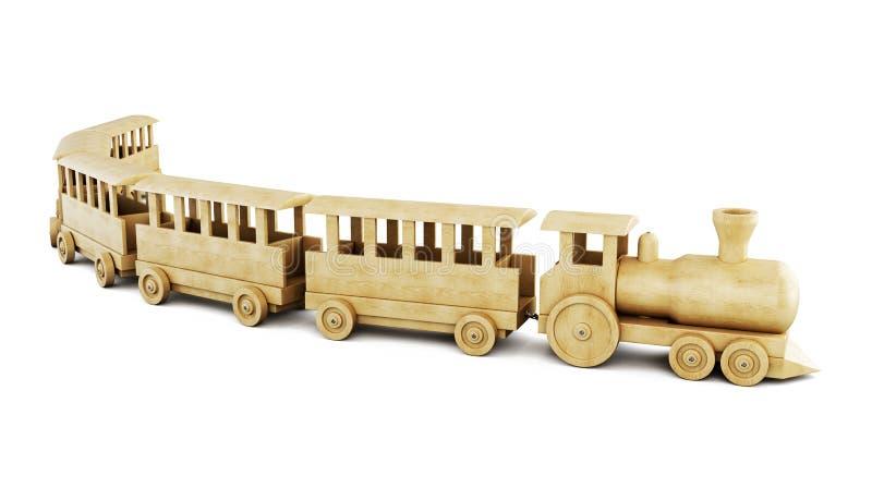Деревянный поезд на белой предпосылке 3d иллюстрация вектора