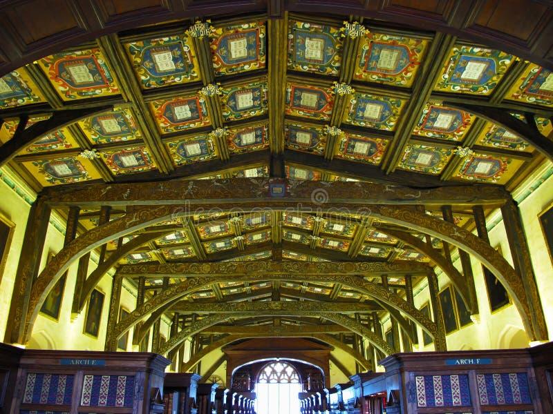 Деревянный потолок в архиве Bodleian стоковое фото rf