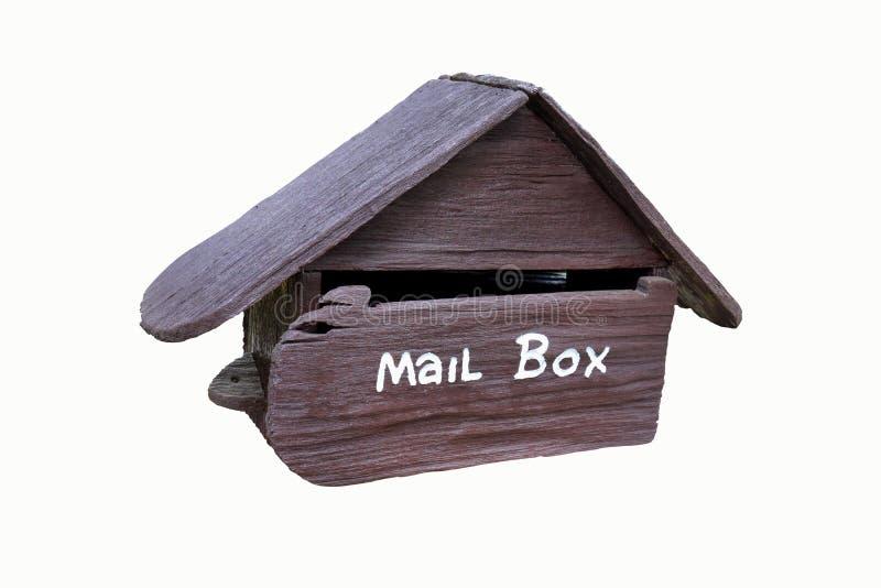 Деревянный почтовый ящик изолированный на белизне стоковые изображения