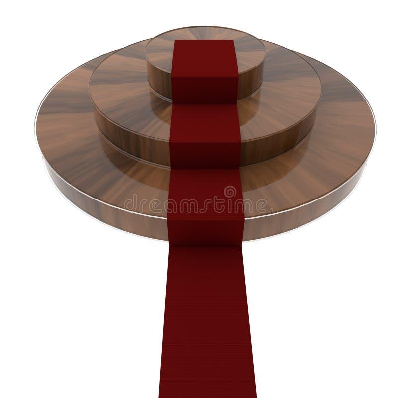 Деревянный подиум с красным ковром иллюстрация вектора