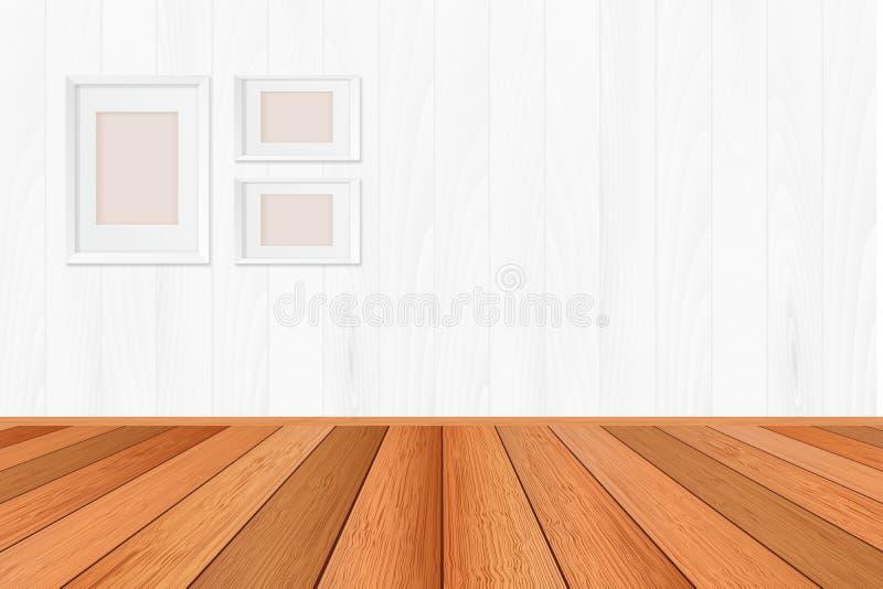 Деревянный пол текстурировал предпосылку картины в русом тоне цвета с пустым белым фоном стены: Изолированный деревянный пол на w иллюстрация штока