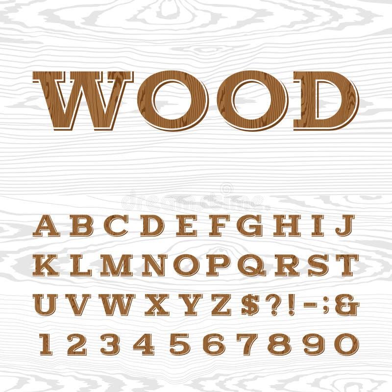Деревянный ретро шрифт вектора алфавита бесплатная иллюстрация