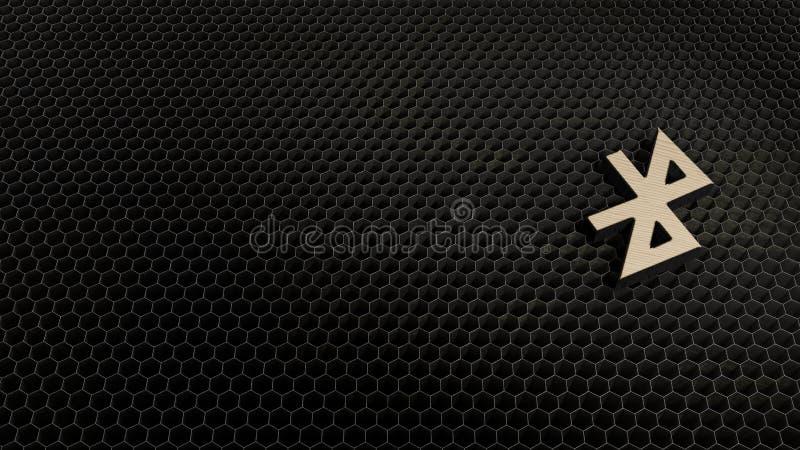 деревянный символ 3d значка bluetooth представить иллюстрация штока
