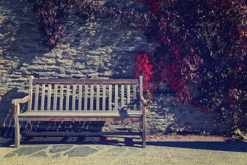 Деревянный стенд с предпосылкой каменной стены стоковое фото