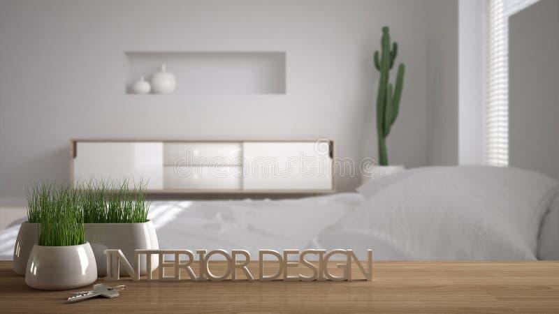 Деревянный стол, стол или полка с в горшке заводом травы, ключи дома и 3D помечают буквами делать дизайн интерьера слов, над запа бесплатная иллюстрация