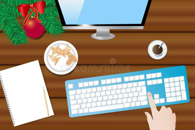 Деревянный стол с украшением рождества, монитором ПК и клавиатурой иллюстрация штока