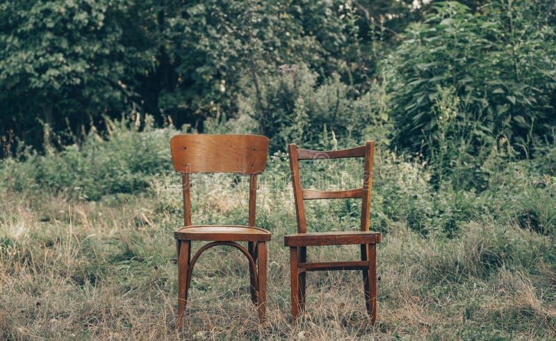 Деревянный стул, деревянный близнец стула, спаривает старый деревянный стул outdoors Вокруг сочной травы, окружающая среда предла стоковая фотография