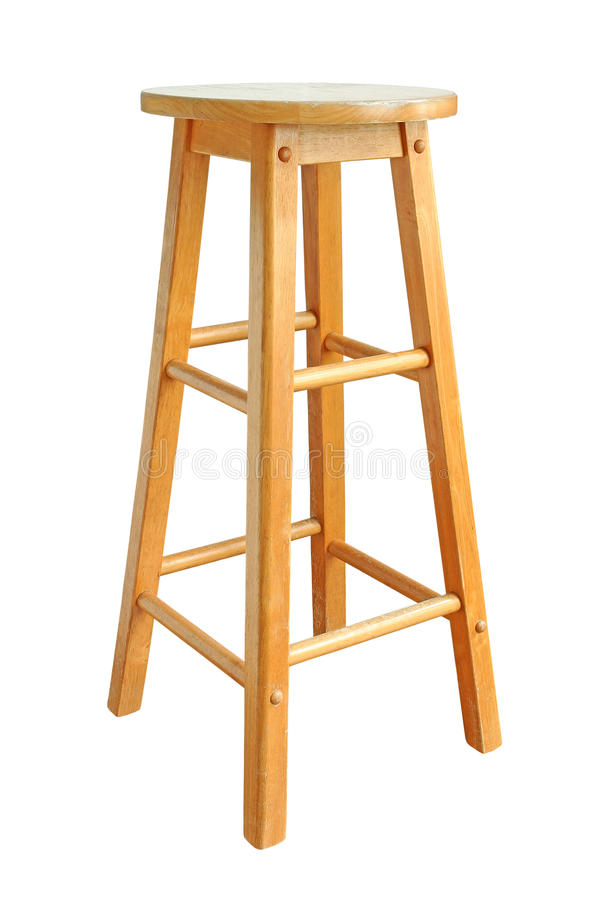 Деревянный стул бара изолированный на белой предпосылке стоковые фотографии rf