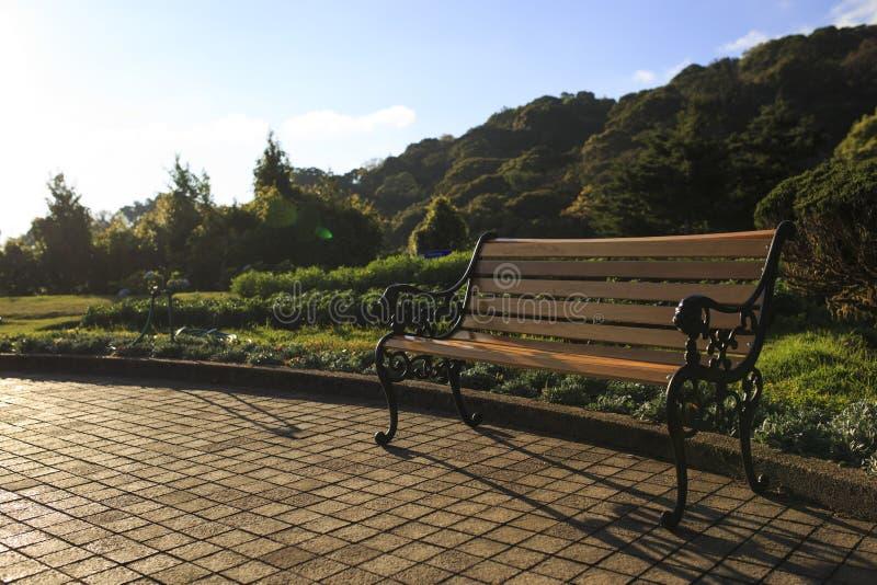 Деревянный стул на парке улицы публично стоковое фото rf