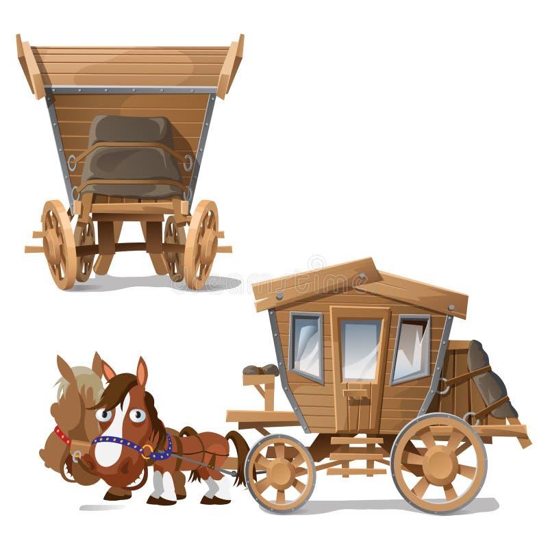Деревянный тренер вытянул лошадями, 2 перспективами иллюстрация вектора