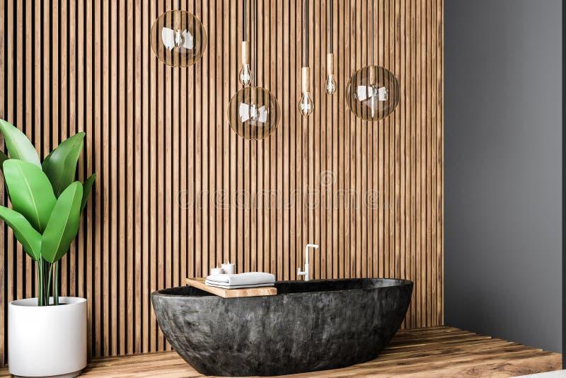 Деревянный угол bathroom, черный ушат иллюстрация штока