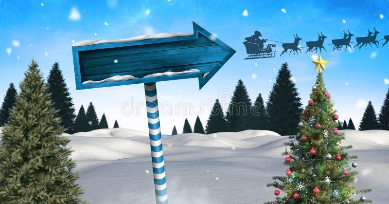Деревянный указатель в ландшафте зимы рождества с сани и северные олени ` s рождественской елки и Санты иллюстрация вектора