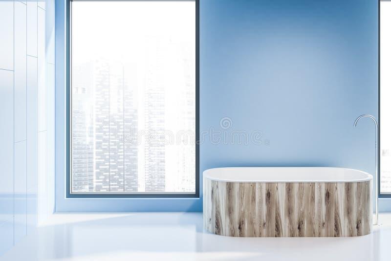 Деревянный ушат в голубом bathroom просторной квартиры иллюстрация вектора