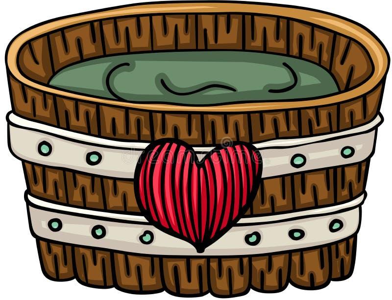 Деревянный ушат для ванны с сердцем иллюстрация штока