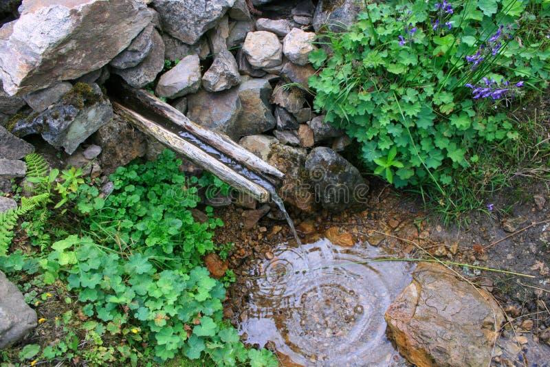 Деревянный фонтан стоковая фотография