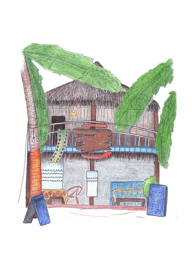Деревянный чертеж лист дома и ладони Иллюстрация тропической хаты острова handdrawn Эскиз перемещения Камбоджи иллюстрация вектора