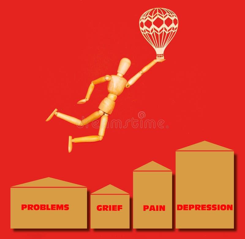 Деревянный человек летая над проблемами, печаль, боль, депрессия с дирижаблем на красном цвете иллюстрация вектора