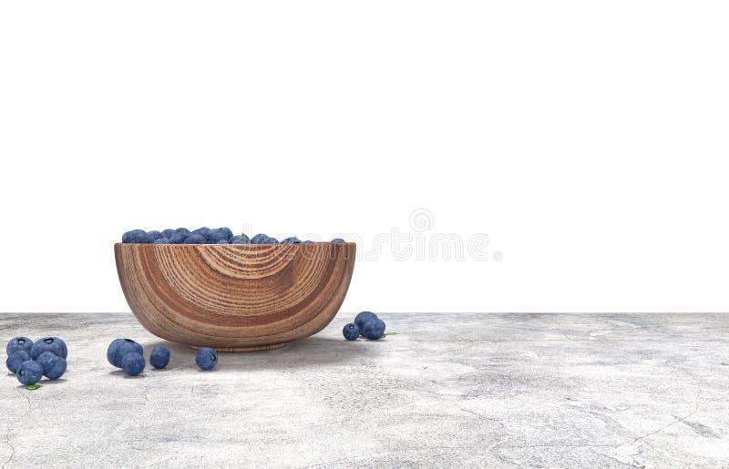 Деревянный шар вполне голубик на таблице conrete иллюстрация штока