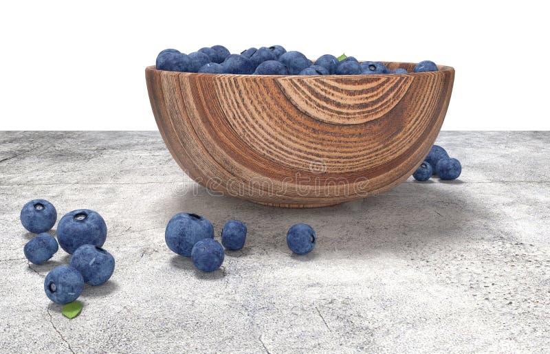 Деревянный шар вполне голубик на таблице conrete иллюстрация вектора
