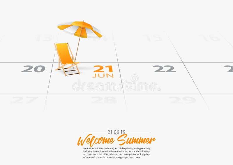 Деревянный шезлонг с зонтиком пляжа Deckchair и зонтик orang отметили начало сезона лета даты на календаре 21-ое июня 2019 иллюстрация вектора