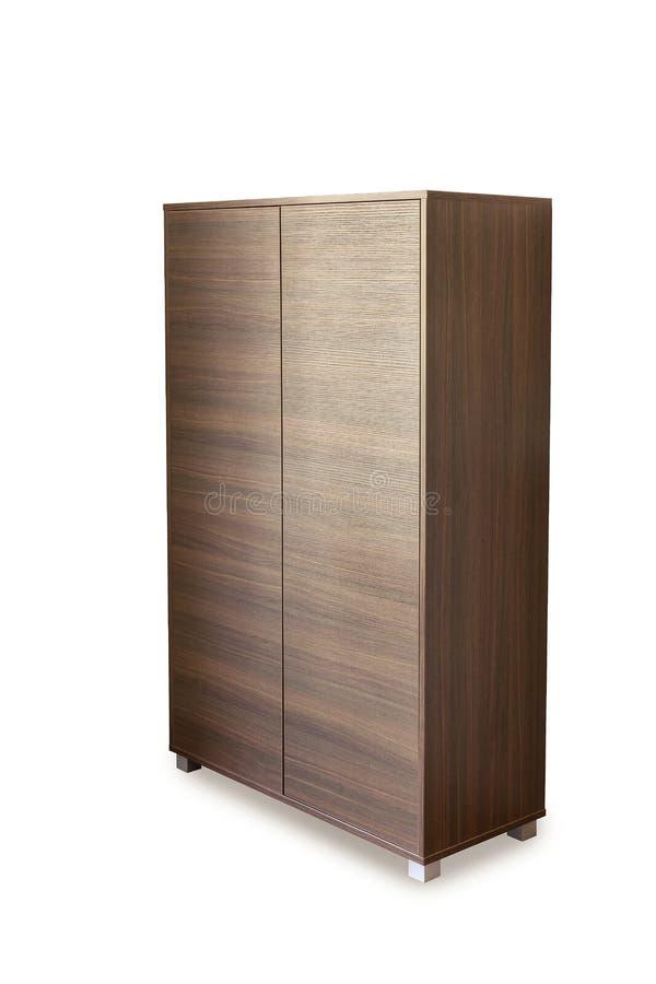 Деревянный шкаф изолированный на белизне стоковое фото