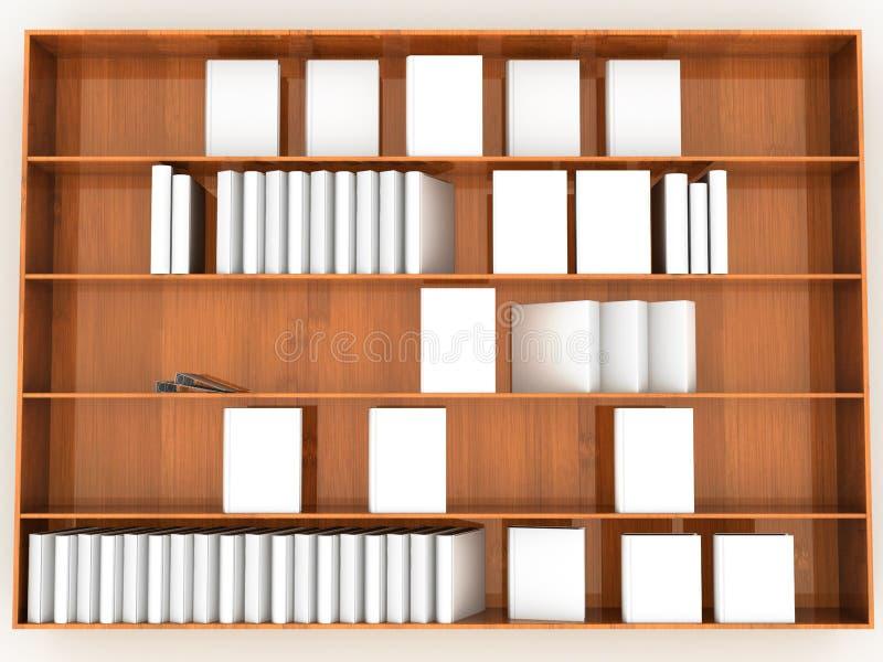 Деревянный шкаф с белыми книгами иллюстрация вектора