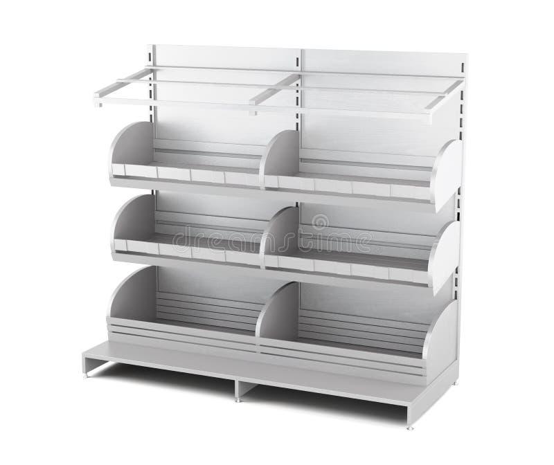 Деревянный шкаф для продуктов хлебопекарни изолированных на белой предпосылке 3d иллюстрация штока