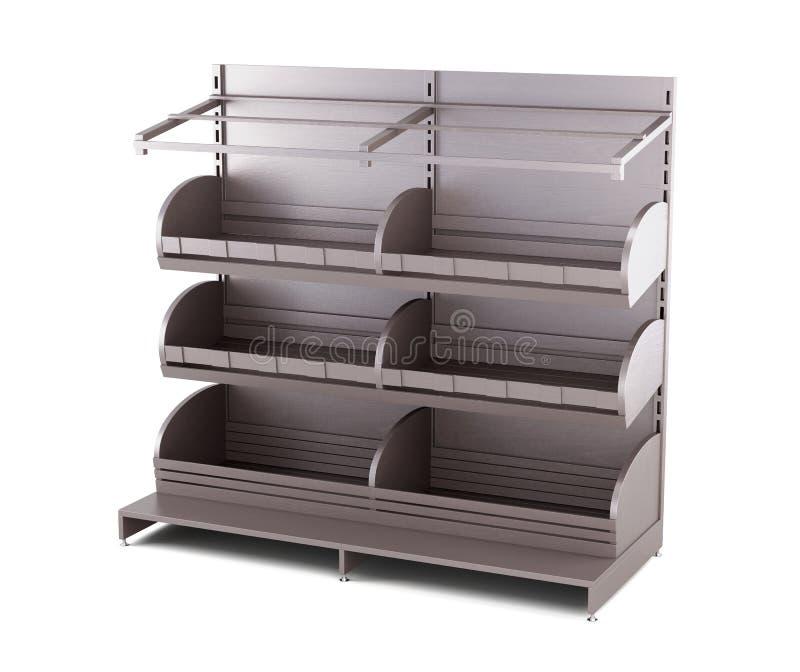Деревянный шкаф для продуктов хлебопекарни на белой предпосылке 3 иллюстрация штока