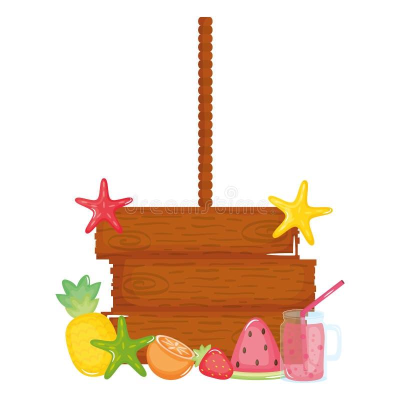 Деревянный ярлык вися с плодами и коктейлем иллюстрация вектора