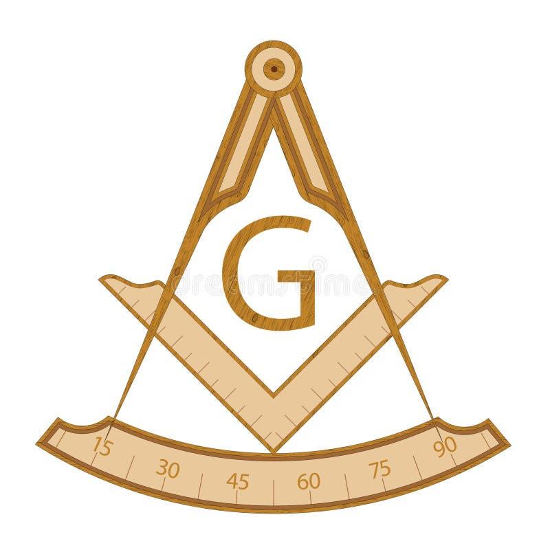 Деревянный masonic символ квадрата и компаса иллюстрация штока