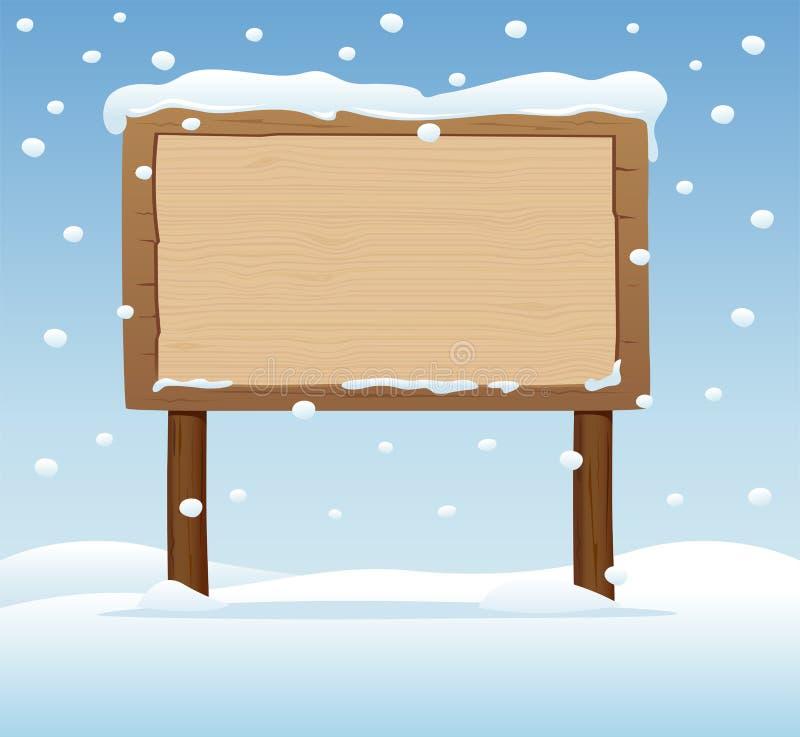 Деревянный signboard в снежке 3 иллюстрация вектора
