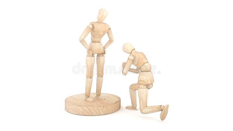 2 деревянных куклы показывают извинения перевод 3d иллюстрация вектора
