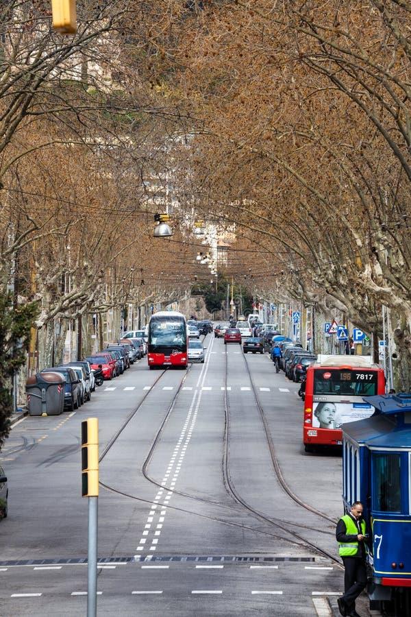 Дерев-выровнянная улица бульвара в центре Барселоны, Испании стоковые фотографии rf
