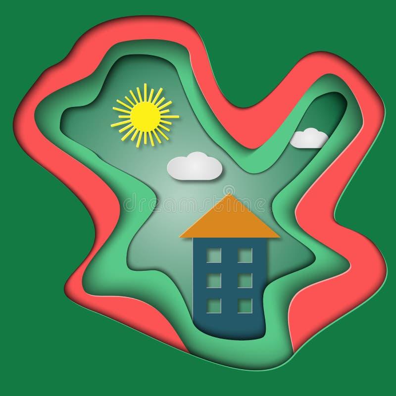 Дерев-габаритная карточка с домом Символ семьи бумажная иллюстрация Красочный пластичный дизайн Солнце, облака и дом бесплатная иллюстрация
