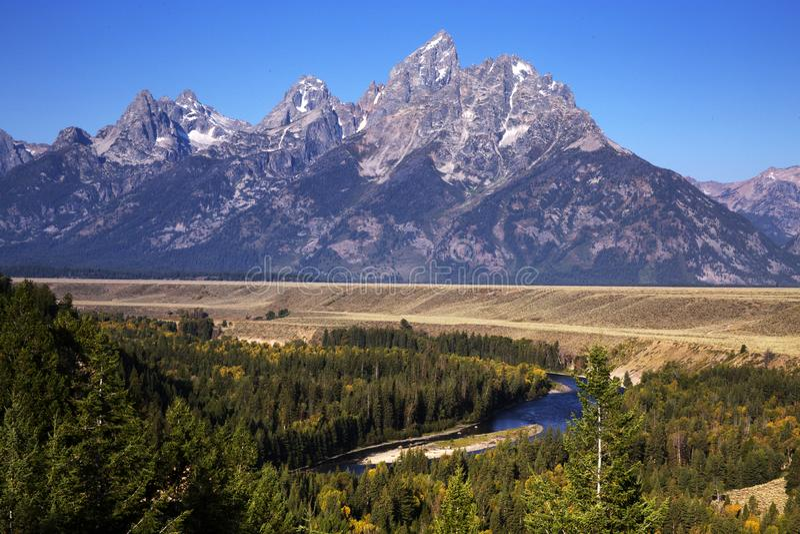 Держатель большое Teton от Рекы Снейк обозревает, большой национальный парк Teton, Вайоминг стоковая фотография rf
