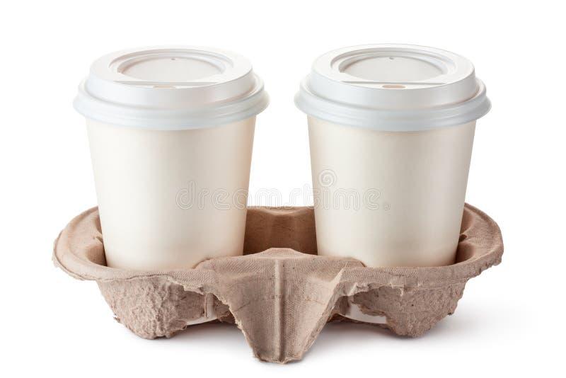держатель 2 кофейных чашек картона устранимый стоковое изображение rf