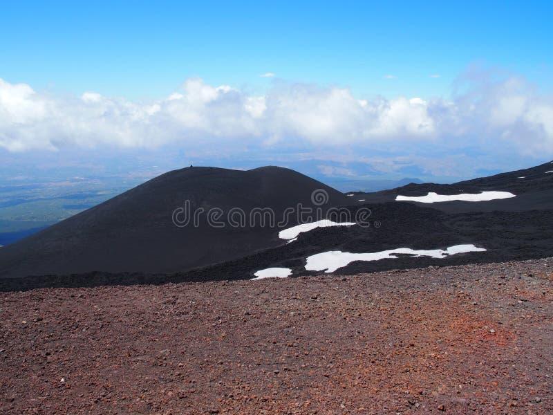 Держатель Этна и красный земной кратер в Сицилии, Италии стоковое фото rf