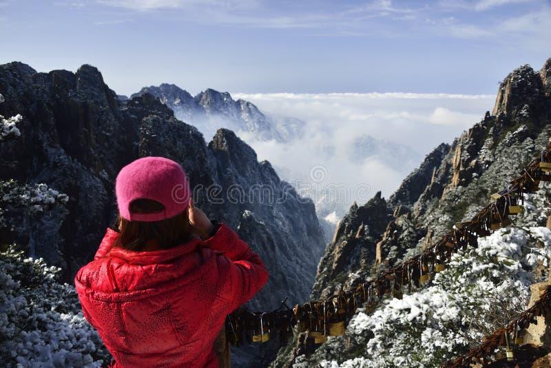 Держатель Huangshan в зиме стоковая фотография rf