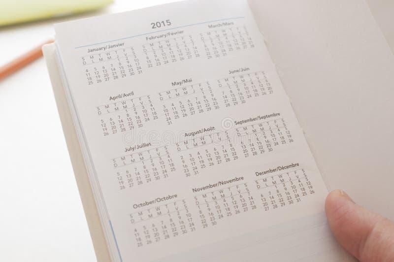 Держать календарь календаря новый 2015 стоковая фотография