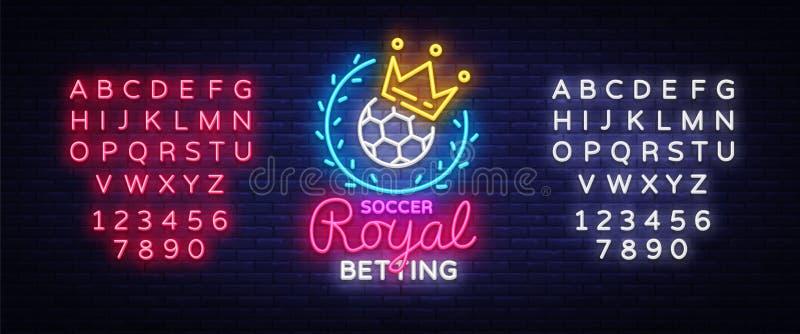 Держать пари неоновая вывеска футбола Футбол держа пари логотип в неоновом стиле, королевской концепции, светлом знамени, яркой н иллюстрация вектора