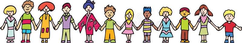 держать рук детей знамени иллюстрация вектора