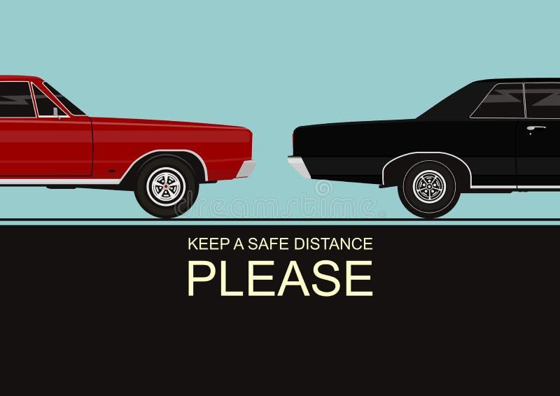 Держите безопасное расстояние бесплатная иллюстрация