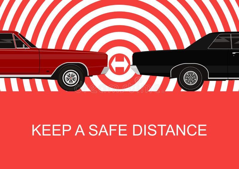 Держите безопасное расстояние иллюстрация штока