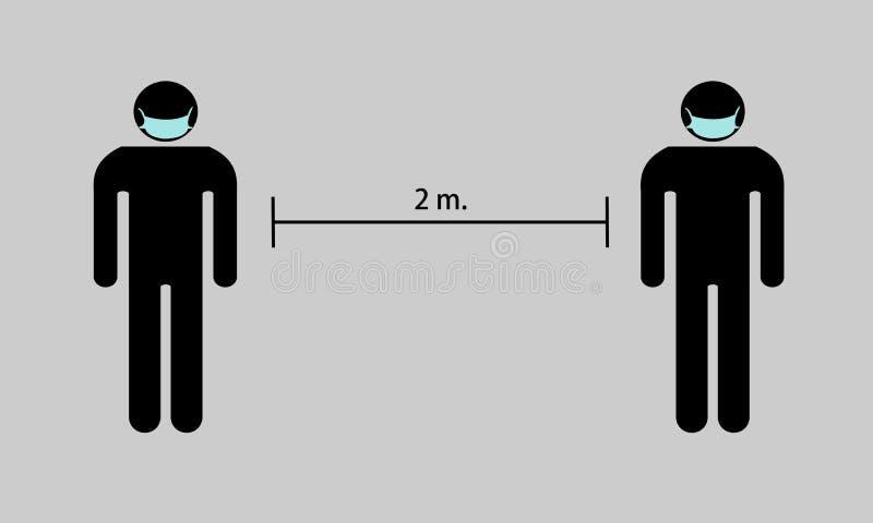 Держите дистанцию около 2 метров от других стоковые изображения