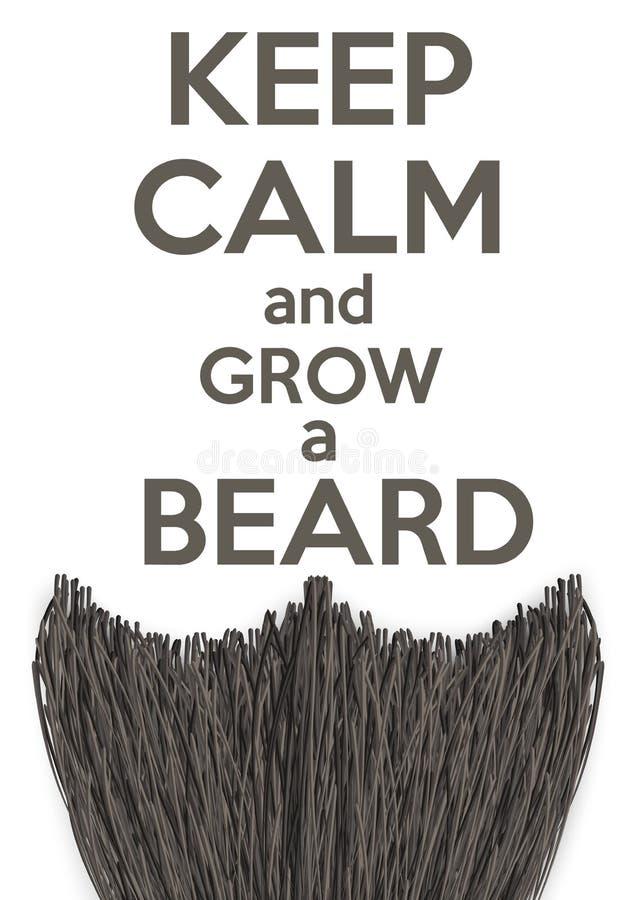 Держите затишье и растите борода иллюстрация штока