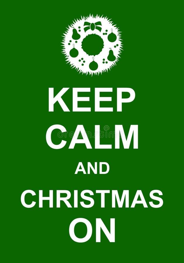 Держите затишье и рождество дальше иллюстрация вектора
